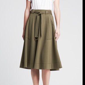 Banana Republic Army Green A-Line Tie Skirt